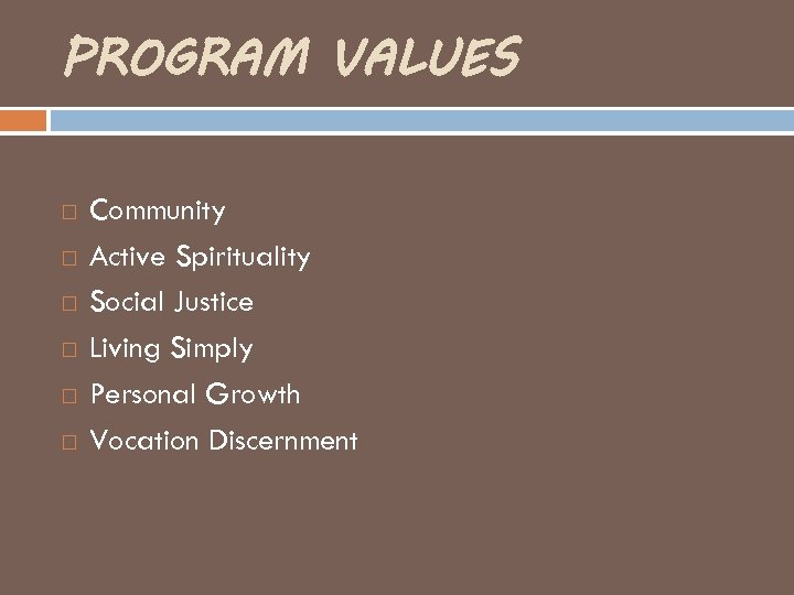PROGRAM VALUES Community Active Spirituality Social Justice Living Simply Personal Growth Vocation Discernment