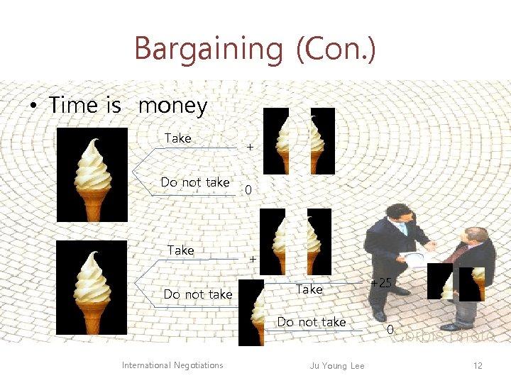 Bargaining (Con. ) • Time is money Take Do not take + 0 +
