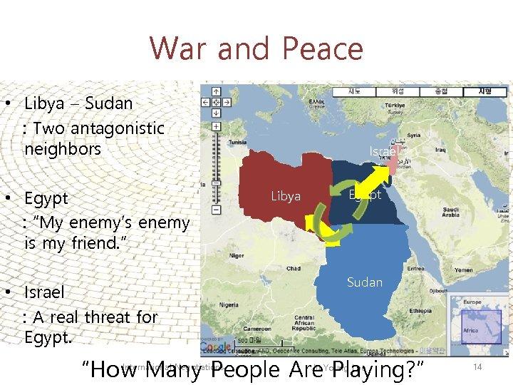 War and Peace • Libya – Sudan : Two antagonistic neighbors • Egypt :