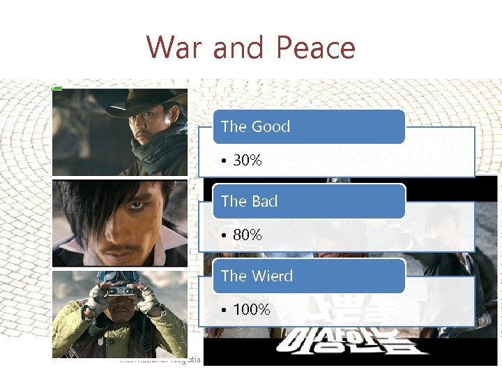War and Peace The Good • 30% The Bad • 80% The Wierd •