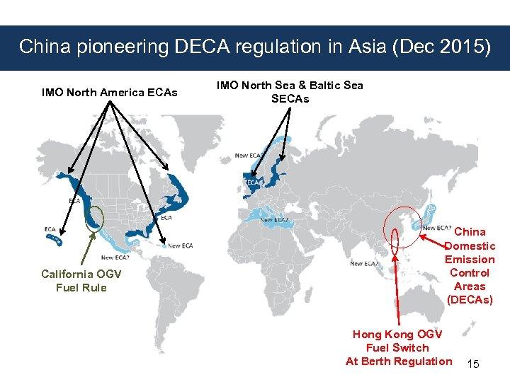 China pioneering DECA regulation in Asia (Dec 2015) IMO North America ECAs California OGV