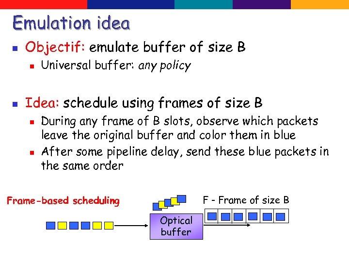 Emulation idea n Objectif: emulate buffer of size B n n Universal buffer: any