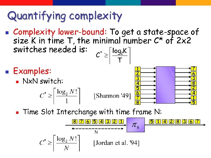 Quantifying complexity n n Complexity lower-bound: To get a state-space of size K in