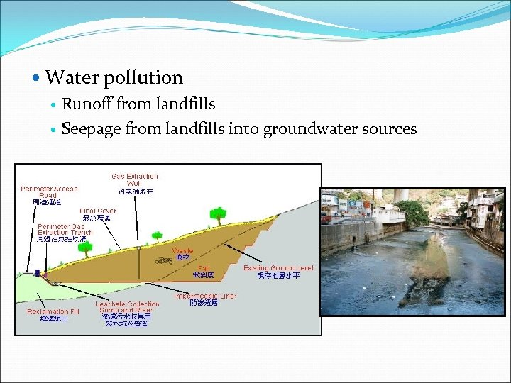 Water pollution Runoff from landfills Seepage from landfills into groundwater sources
