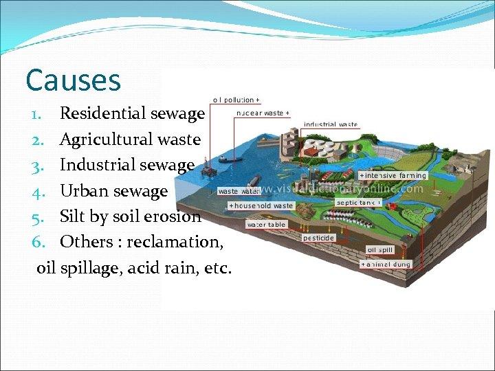 Causes 1. Residential sewage 2. Agricultural waste 3. Industrial sewage 4. Urban sewage 5.