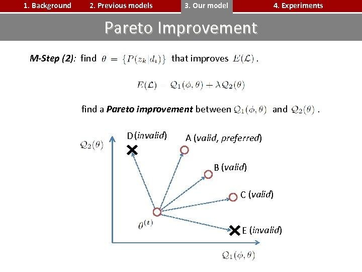 1. Background 2. Previous models 3. Our model 4. Experiments Pareto Improvement M-Step (2):