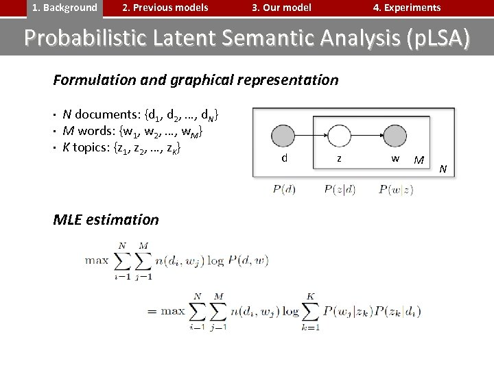 1. Background 2. Previous models 3. Our model 4. Experiments Probabilistic Latent Semantic Analysis