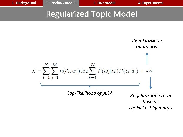 1. Background 2. Previous models 3. Our model 4. Experiments Regularized Topic Model Regularization