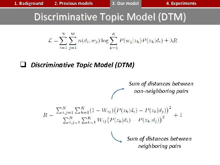 1. Background 2. Previous models 3. Our model 4. Experiments Discriminative Topic Model (DTM)