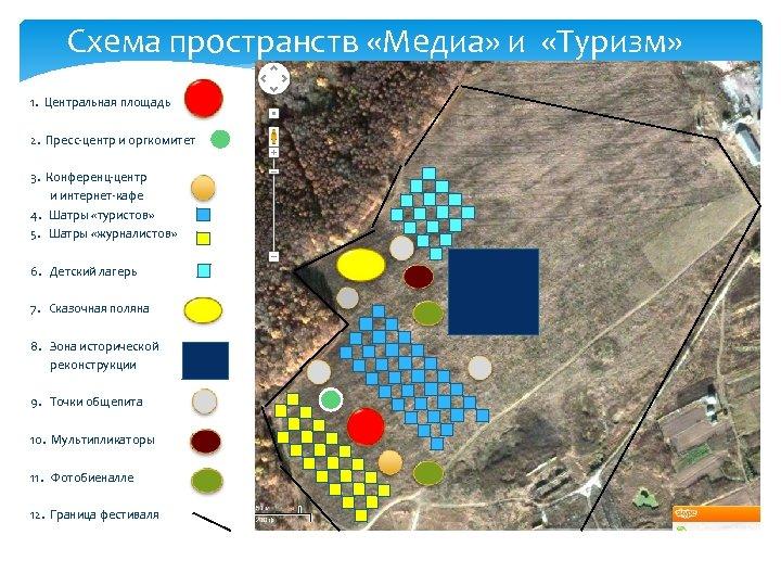 Схема пространств «Медиа» и «Туризм» 1. Центральная площадь 2. Пресс-центр и оргкомитет 3. Конференц-центр