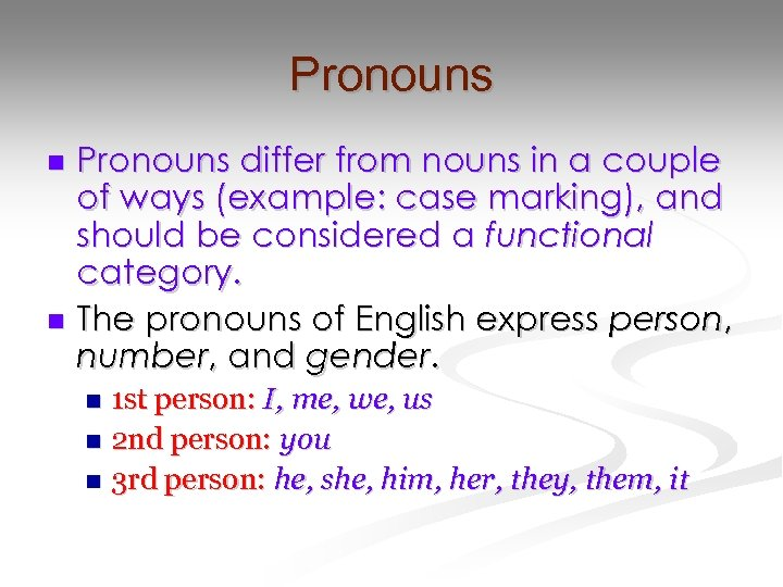 Pronouns differ from nouns in a couple of ways (example: case marking), and should