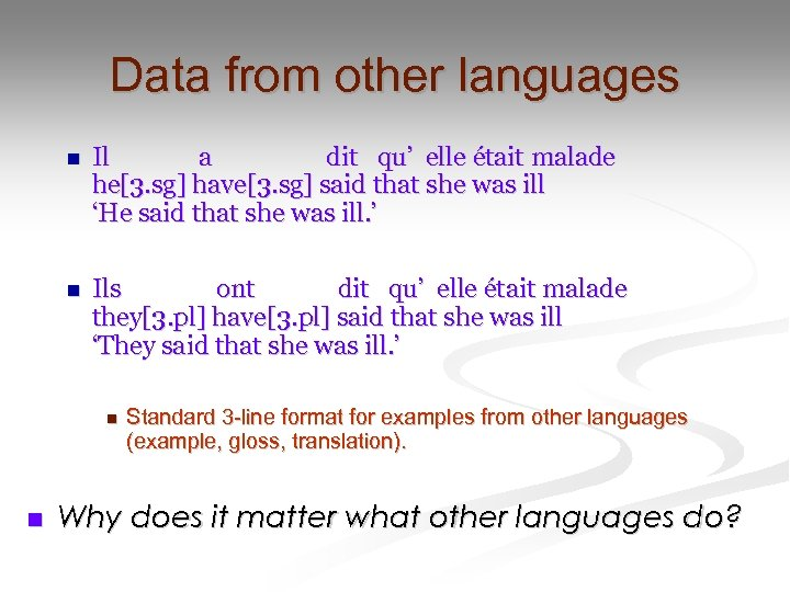 Data from other languages n Il a dit qu' elle était malade he[3. sg]