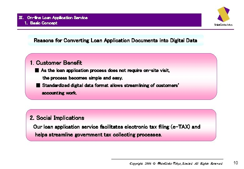 Ⅲ. On-line Loan Application Service   1.  Basic Concept   Reasons for Converting Loan Application Documents