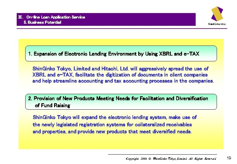 Ⅲ. On-line Loan Application Service   5. Business Potential 1. Expansion of Electronic Lending Environment