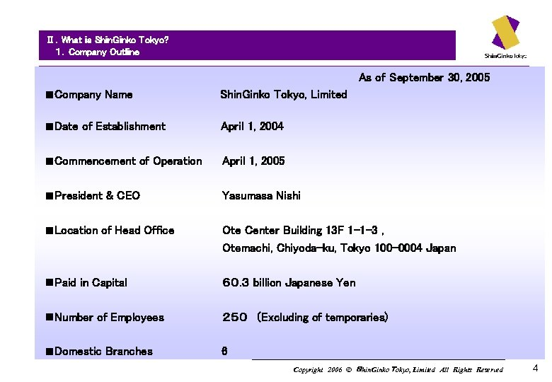 Ⅱ.What is Shin. Ginko Tokyo?   1.Company Outline As of September 30, 2005 n Company