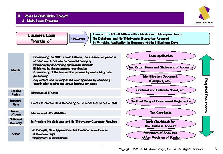 "Ⅱ. What is Shin. Ginko Tokyo?   4.Main Loan Product   Business Loan ""Portfolio"" Merits Features"