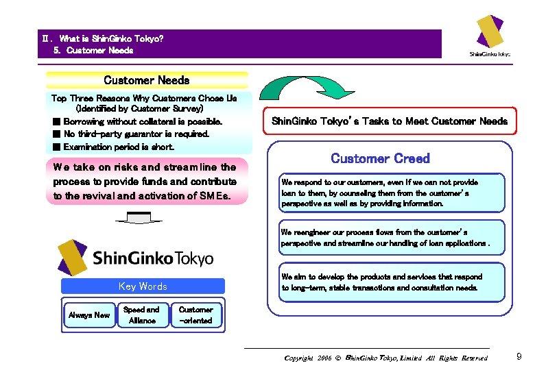 Ⅱ. What is Shin. Ginko Tokyo?   5.  Customer Needs   Customer Needs Top Three Reasons