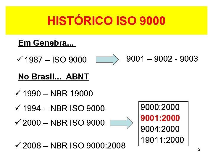HISTÓRICO ISO 9000 Em Genebra. . . ü 1987 – ISO 9000 9001 –