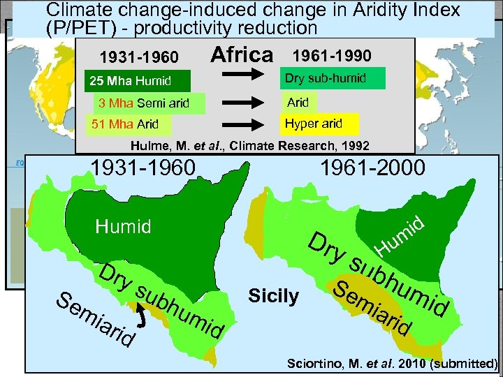Climate change-induced change in Aridity Index (P/PET) - productivity reduction Vicious circle 1931 -1960
