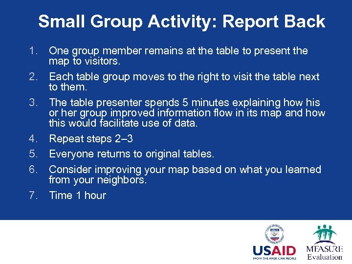 Small Group Activity: Report Back 1. One group member remains at the table to