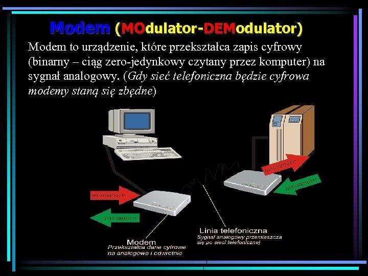 Modem (MOdulator-DEModulator) Modem to urządzenie, które przekształca zapis cyfrowy (binarny – ciąg zero-jedynkowy czytany