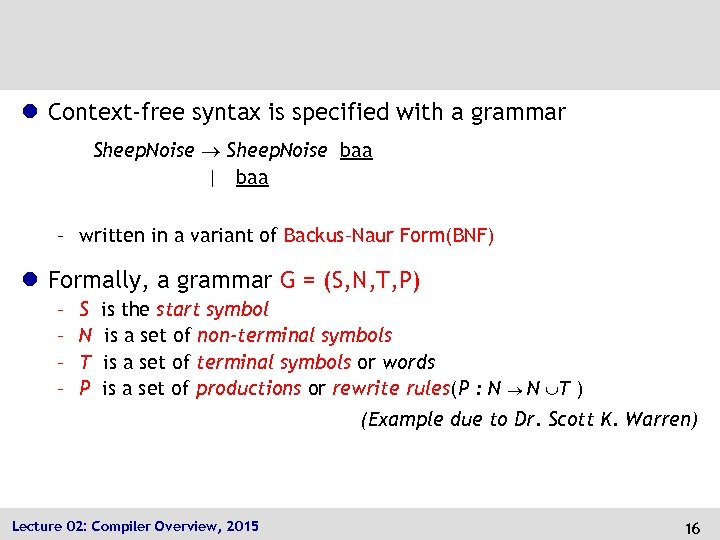 l Context-free syntax is specified with a grammar Sheep. Noise baa | baa –