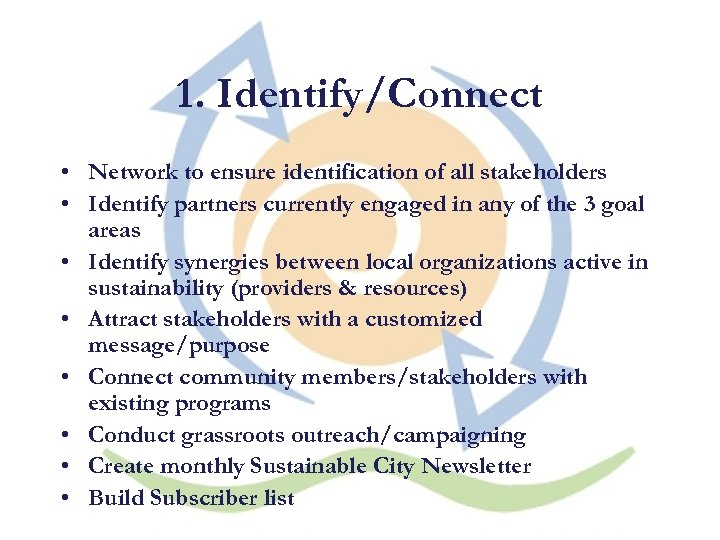 1. Identify/Connect • Network to ensure identification of all stakeholders • Identify partners currently