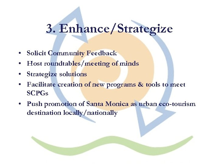 3. Enhance/Strategize • • Solicit Community Feedback Host roundtables/meeting of minds Strategize solutions Facilitate