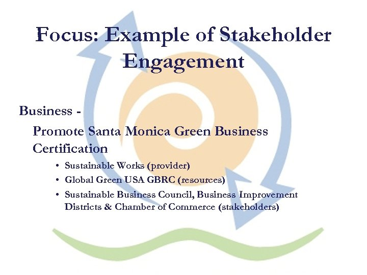 Focus: Example of Stakeholder Engagement Business Promote Santa Monica Green Business Certification • Sustainable