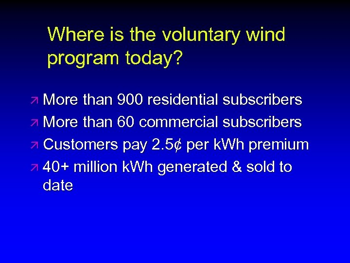 Where is the voluntary wind program today? ä More than 900 residential subscribers ä