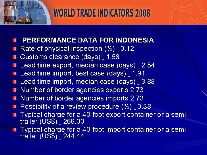 PERFORMANCE DATA FOR INDONESIA Rate of physical inspection (%) _0. 12 Customs clearance