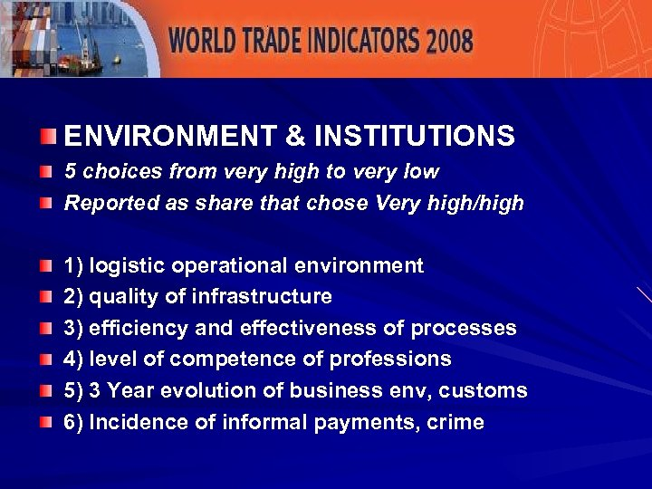 ENVIRONMENT & INSTITUTIONS 5 choices from very high to very low Reported as share