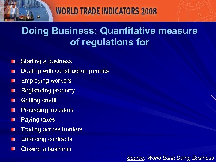 Doing Business: Quantitative measure of regulations for Starting a business Dealing with construction permits