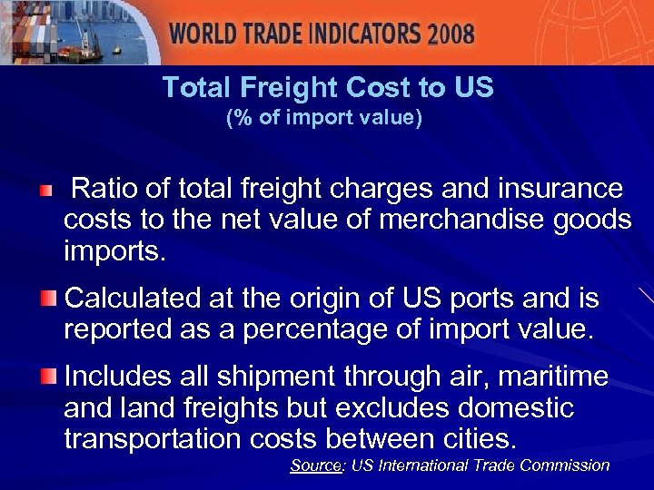 Total Freight Cost to US (% of import value) Ratio of total freight