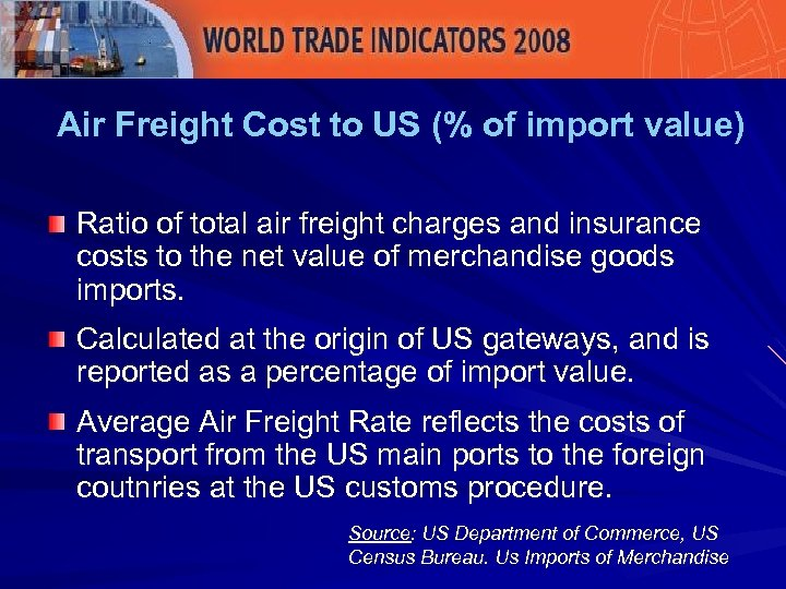 Air Freight Cost to US (% of import value) Ratio of total air