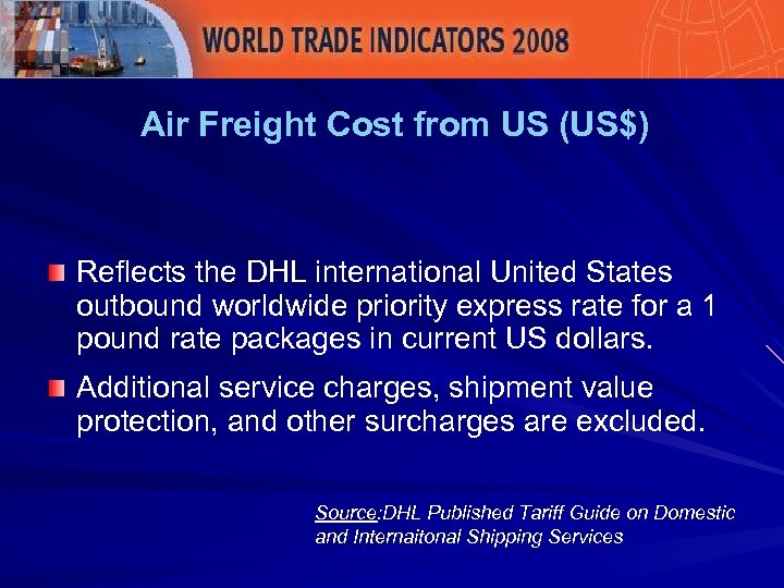 Air Freight Cost from US (US$) Reflects the DHL international United States outbound worldwide