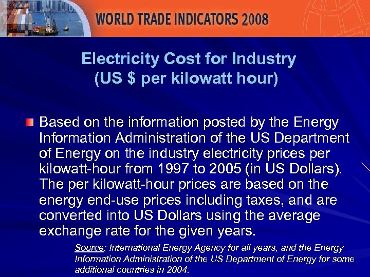Electricity Cost for Industry (US $ per kilowatt hour) Based on the information