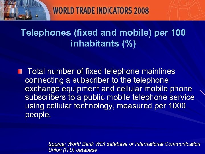 Telephones (fixed and mobile) per 100 inhabitants (%) Total number of fixed telephone mainlines