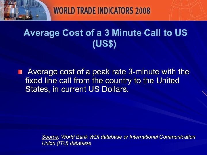 Average Cost of a 3 Minute Call to US (US$) Average cost of