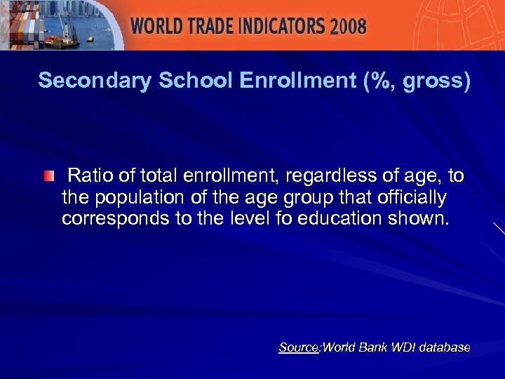 Secondary School Enrollment (%, gross) Ratio of total enrollment, regardless of age, to the
