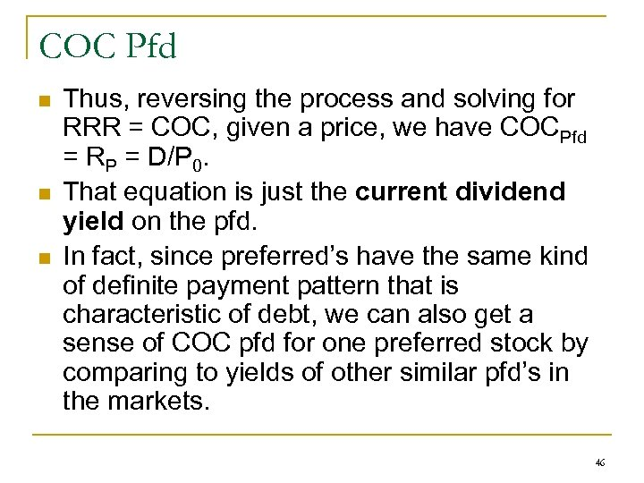 COC Pfd n n n Thus, reversing the process and solving for RRR =