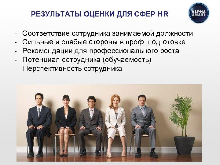 РЕЗУЛЬТАТЫ ОЦЕНКИ ДЛЯ СФЕР HR - Соответствие сотрудника занимаемой должности - Сильные и слабые