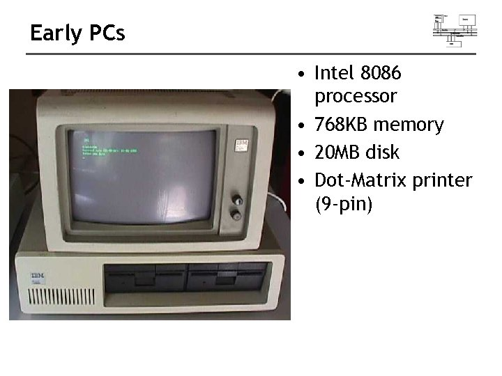 Early PCs • Intel 8086 processor • 768 KB memory • 20 MB disk
