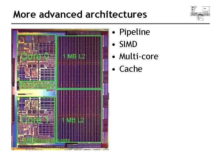 More advanced architectures • • Pipeline SIMD Multi-core Cache