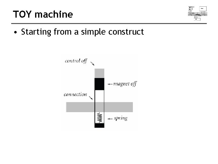 TOY machine • Starting from a simple construct