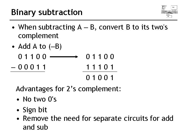 Binary subtraction • When subtracting A – B, convert B to its two's complement