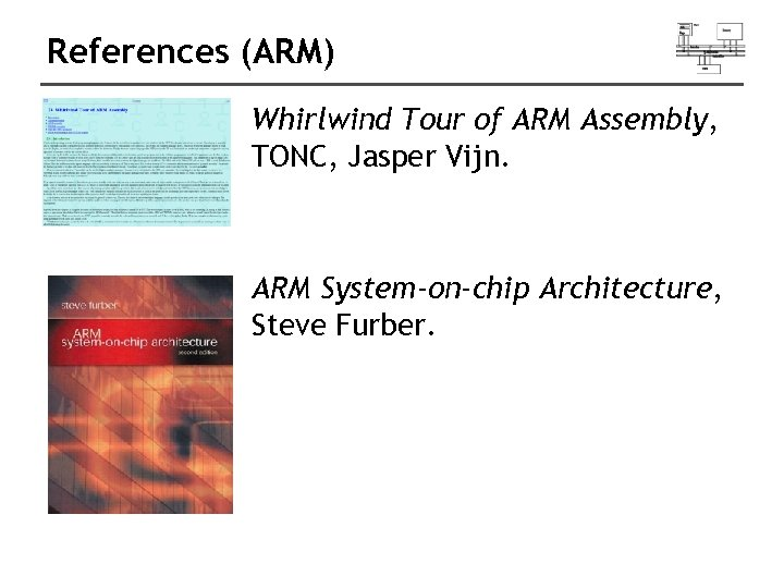 References (ARM) Whirlwind Tour of ARM Assembly, TONC, Jasper Vijn. ARM System-on-chip Architecture, Steve