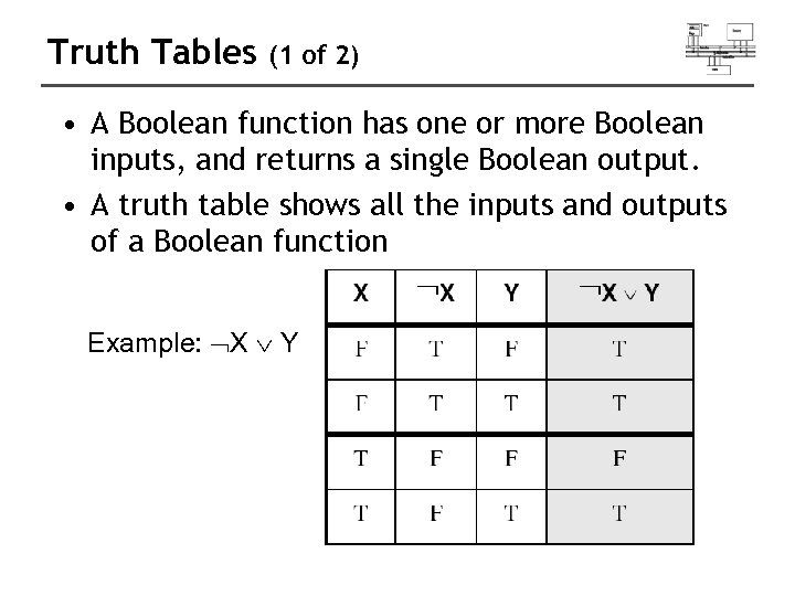 Truth Tables (1 of 2) • A Boolean function has one or more Boolean