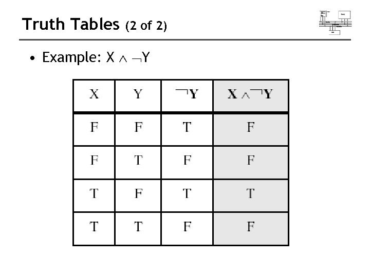 Truth Tables (2 of 2) • Example: X Y