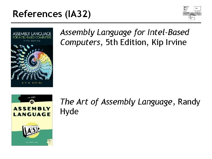 References (IA 32) Assembly Language for Intel-Based Computers, 5 th Edition, Kip Irvine The
